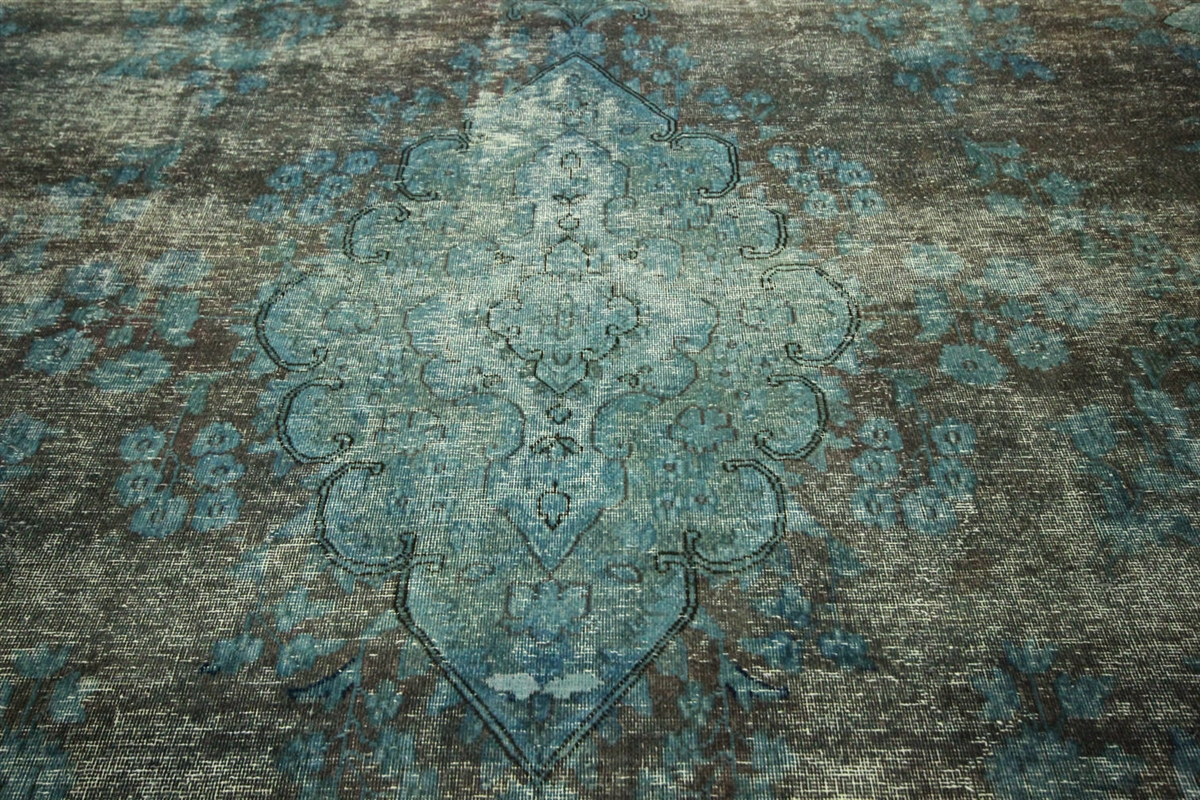 Awesome New Oriental Overdyed 9u0027x13u0027 Blue Green Floral Hand Knotted Wool Area Rug  H8943