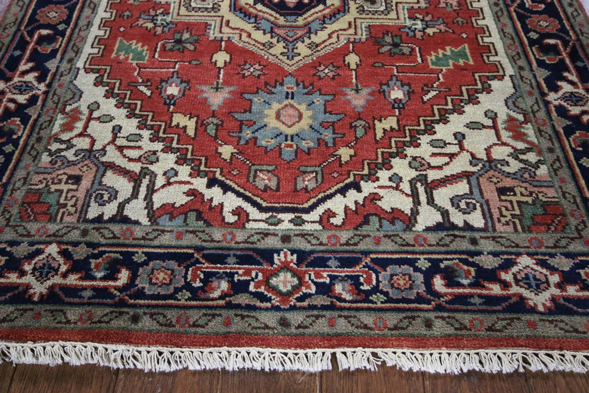 traditional oriental heriz serapi 4x6 red/black hand knotted wool