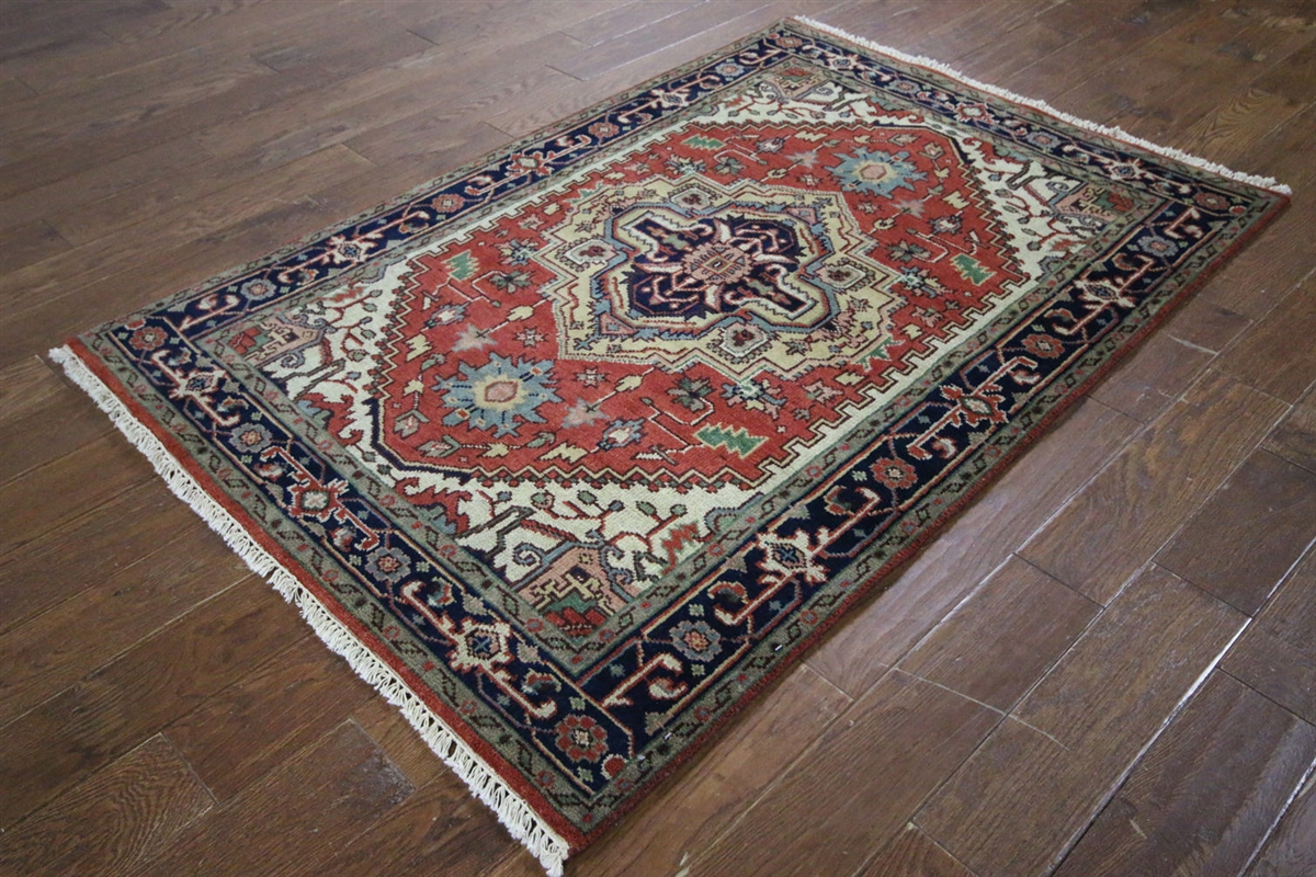 Traditional Oriental Heriz Serapi 4x6 Red/Black Hand Knotted Wool Area Rug H9343