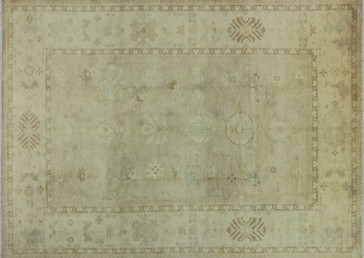 Beige Oushak Collection Peshawar Quality Chobi Hand Knotted Area Rug