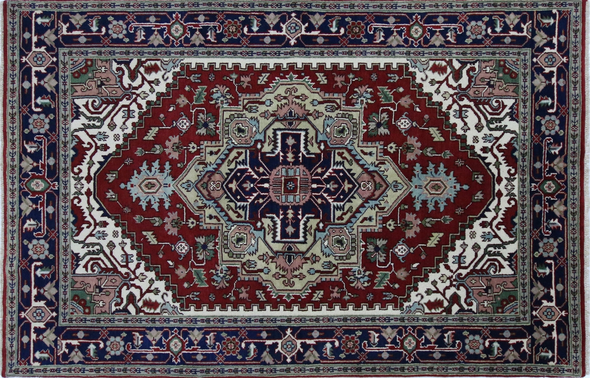 hand knotted oriental heriz serapi floral rednavy blue wool area rug