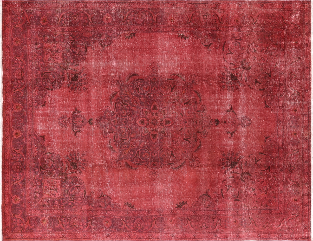 Pink Overdyed Floral Oriental Hand Knotted Wool Area Rug - 9'x12' Pink Overdyed Floral Oriental Hand Knotted Wool Area Rug H9610