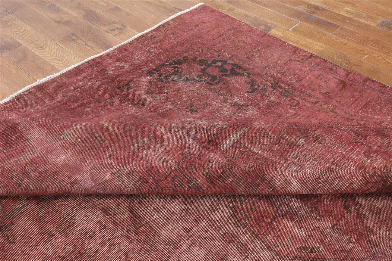 - Oriental Pink Overdyed 10'x12' Hand Knotted Wool Area Rug H9770