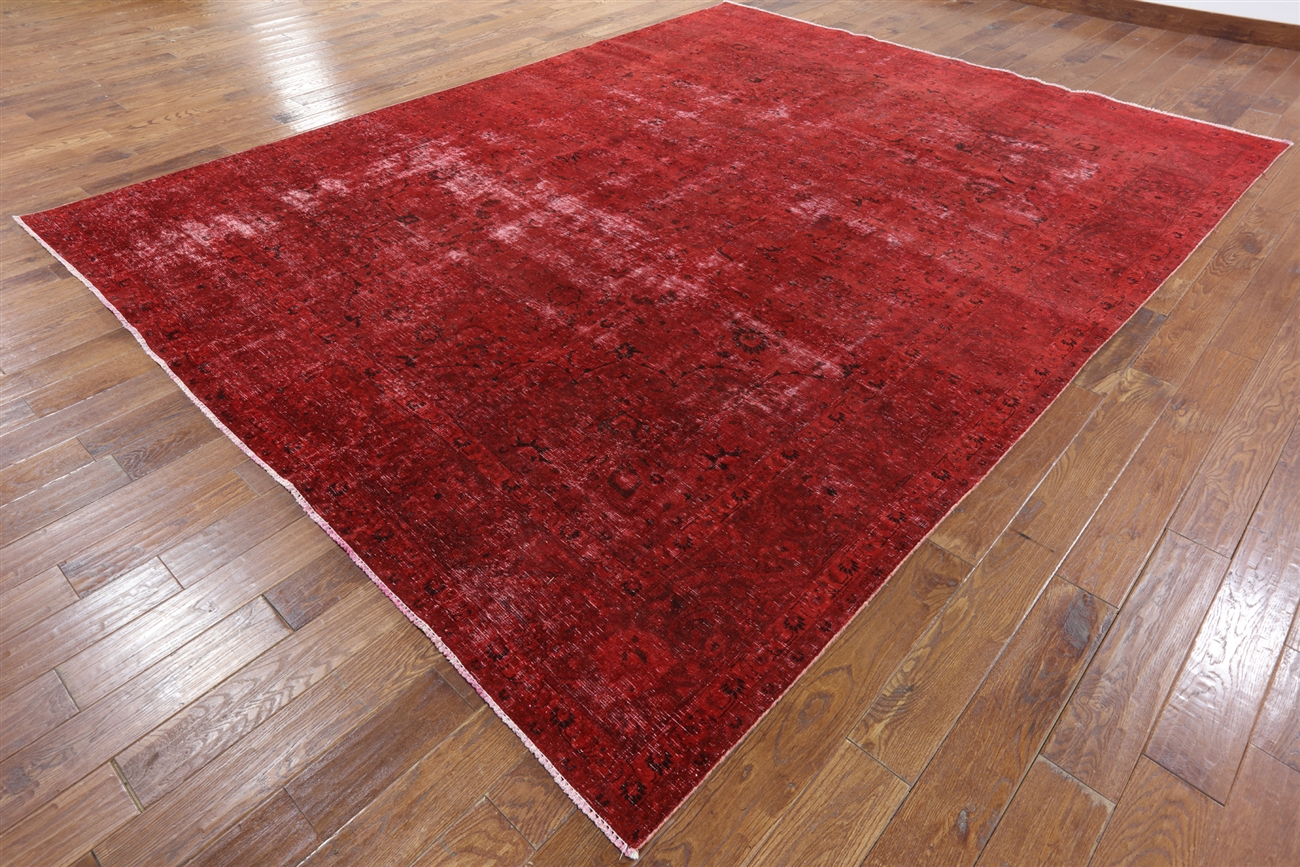 10 X12 Red Rose Overdyed Oriental Hand Knotted Wool Area