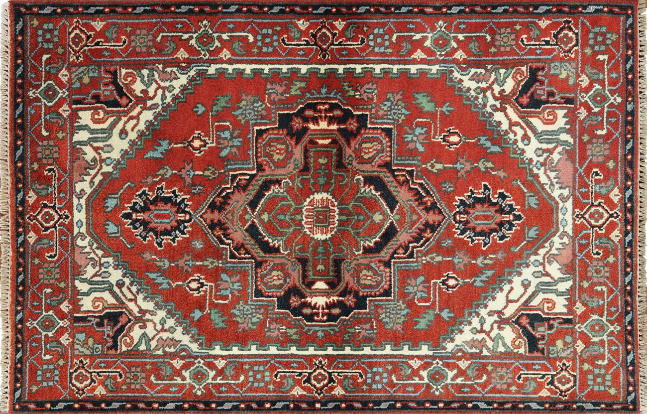 red floral medallion heriz serapi hand knotted wool area rug h9903