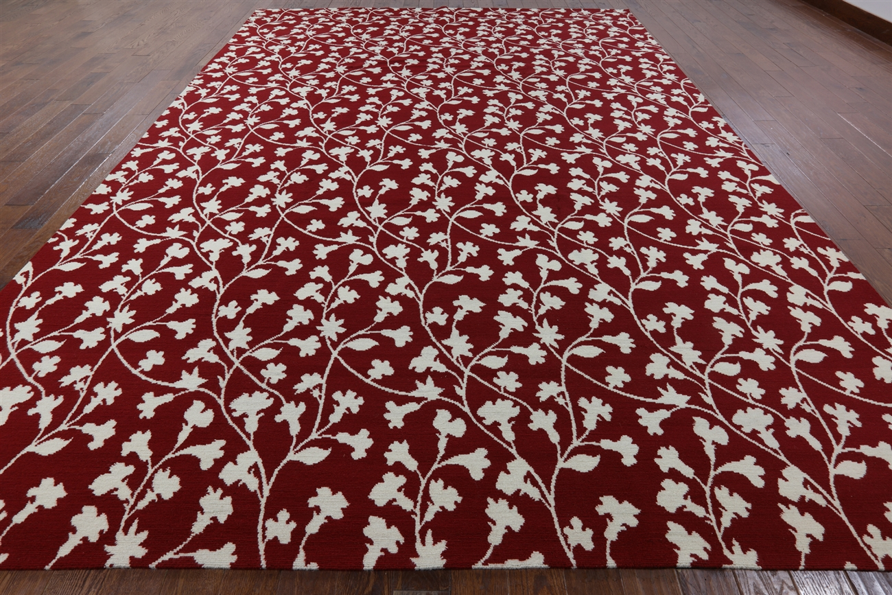 New Dark Red Amp White Hand Knotted 10 X 14 Floral Tibetan