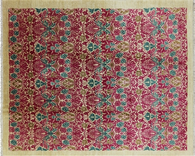 Hand Knotted William Morris Oriental Area Rug