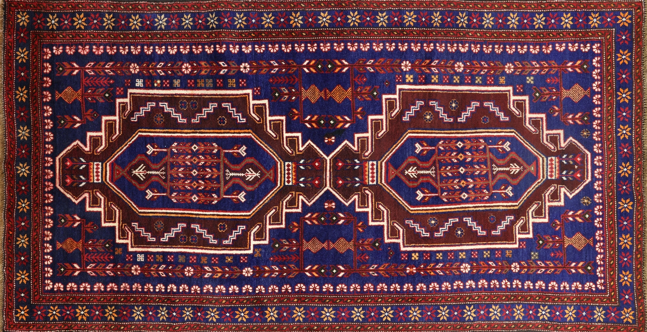 Hand Knotted Wool On Wool Persian Baluch Rug