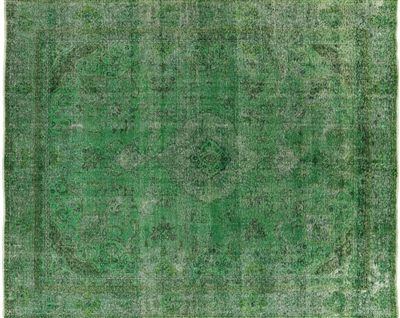 Green Veg Dyed Overdyed Hand Knotted Area Rug