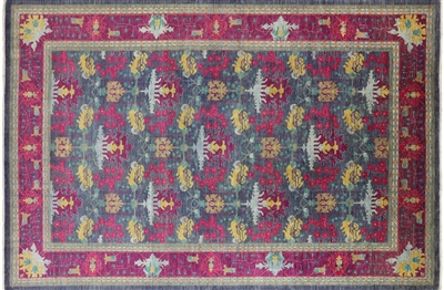 Arts & Crafts William Morris Design Hand Knotted Modern Area Rug