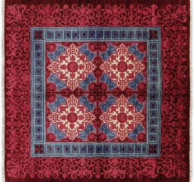 Square Modern Art Deco Hand Knotted Area Rug