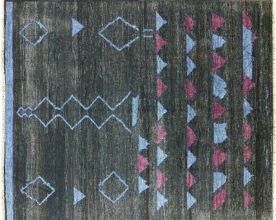 Oriental Moroccan Hand Knotted Navajo Design Rug