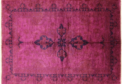 Full Pile Wool Pink Overdyed Hand-Knotted Area Rug
