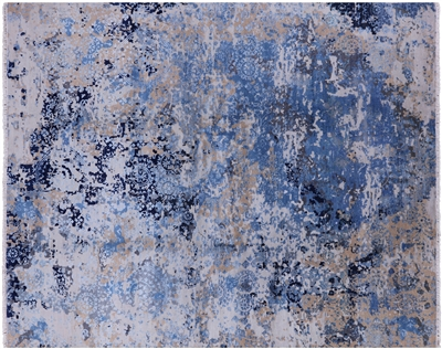 Modern Wool & Silk Abstract Design Rug