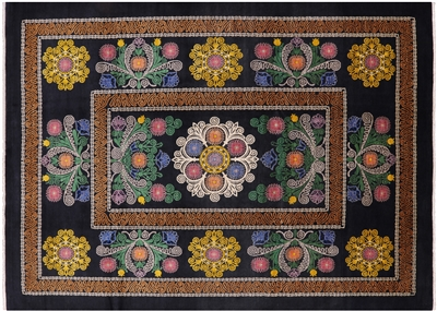 Black Arts & Crafts Hand Knotted Area Rug