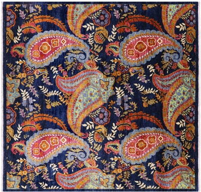 Hand Knotted Persian Paisley Square Rug