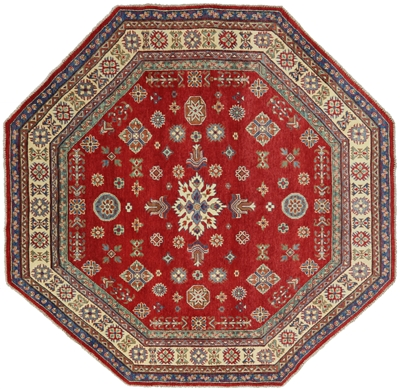 Super Kazak Hand Knotted Octagon Area Rug