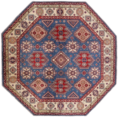 Blue Kazak Octagon Area Rug