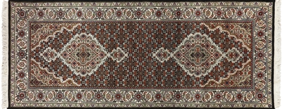 Runner Wool & Silk Hand Knotted Persian Tabriz Rug