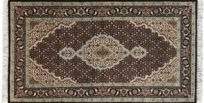 Wool & Silk Tabriz Hand Knotted Area Rug