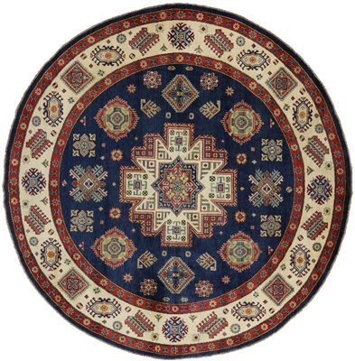 Round Kazak Blue Hand Knotted Area Rug