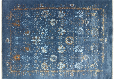 Floral Design Hand Knotted Wool & Silk Area Rug
