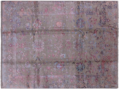 Contemporary Hand Knotted Persian Wool & Silk Rug