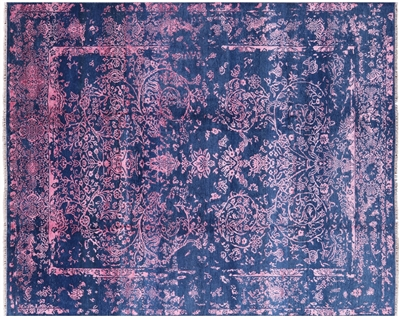 Modern Wool & Silk Floral Hand Knotted Persian Rug