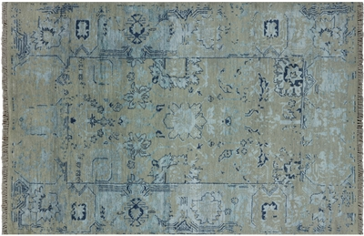 Hand Knotted Wool & Silk Oriental Area Rug