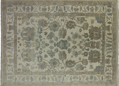 Tone on Tone Hand Knotted Oushak Oriental Rug