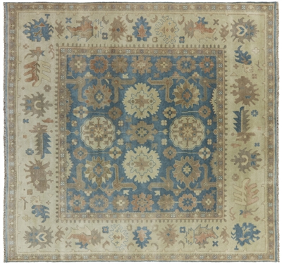 Square Hand Knotted Wool Oushak Rug