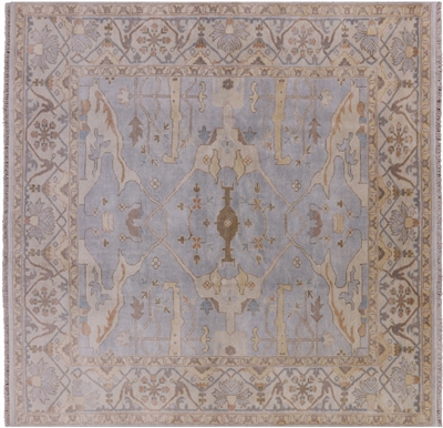 Square Traditional Hand Knotted Wool Oushak Rug
