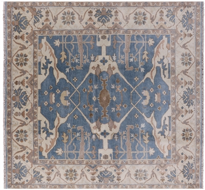 Traditional Oushak Hand Knotted Wool Square Rug