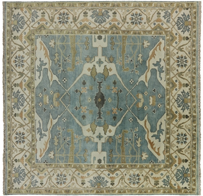 Hand Knotted Oushak Fish Design Square Rug