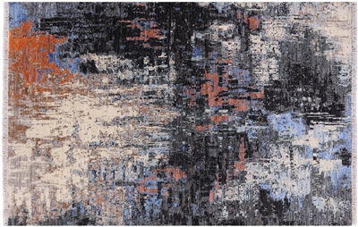 Modern Abstract Hand Knotted Wool & Silk Rug