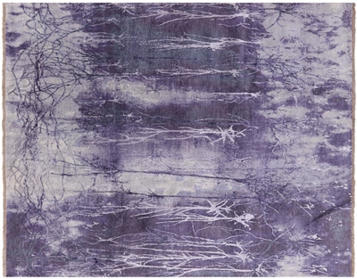 Hand Knotted Tree Design Wool & Silk Hi-Lo Pile Area Rug