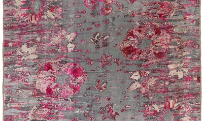 Hand Knotted Wool & Silk Hi-Lo Pile Modern Floral Design Rug