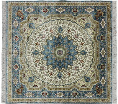 Square High End Persian 100% Silk Hand Knotted Rug