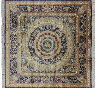 6' Square High End Persian 100% Silk Area Rug