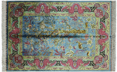 High End Scenery 100% Silk Persian Hand Knotted Area Rug