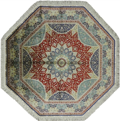 Octagon High End Persian 100% Silk Hand Knotted Rug