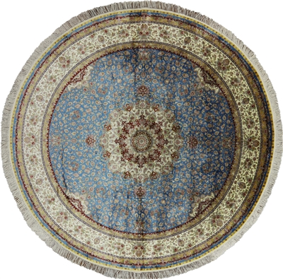 Round Hand Knotted High End Persian Silk Area Rug