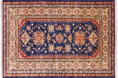Blue Super Kazak Wool Oriental Area Rug