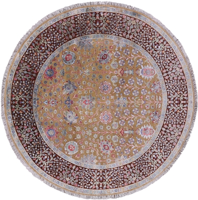 Round Pure Silk With Oxidized Wool Hand Knotted Rug