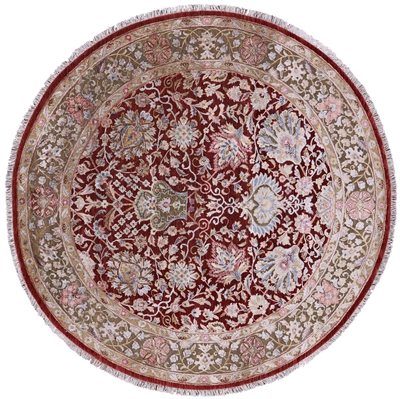 Round Hand Knotted Pure Silk With Oxidized Wool Rug