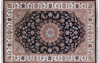 Persian Nain Hand Knotted Wool & Silk Rug