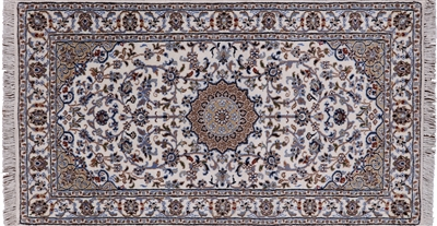 Persian Nain Hand Knotted Wool & Silk Area Rug
