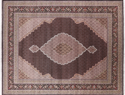 Black Persian Mahi Tabriz Wool & Silk Area Rug