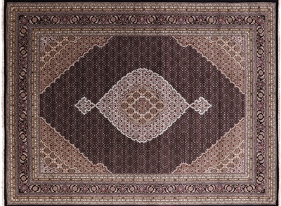 Black Persian Tabriz Wool & Silk Area Rug