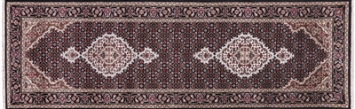 Hand Knotted Persian Tabriz Wool & Silk Runner Rug
